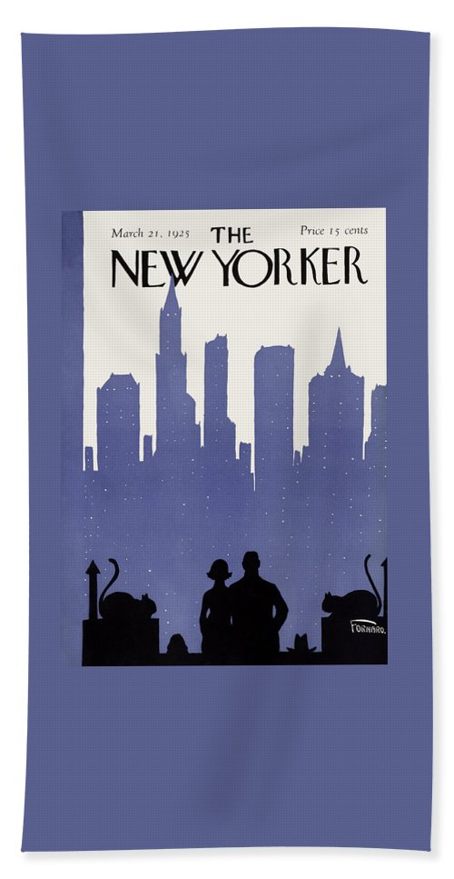 Skyline Bath Towel featuring the painting The New Yorker Cover - March 21st, 1925 by Carl Fornaro