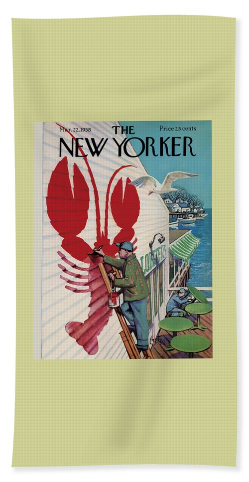 Food Hand Towel featuring the painting New Yorker March 22, 1958 by Arthur Getz