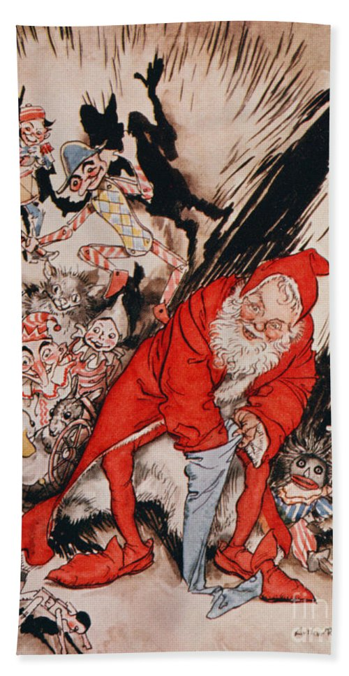 Arthur Hand Towel featuring the drawing The Night Before Christmas by Arthur Rackham