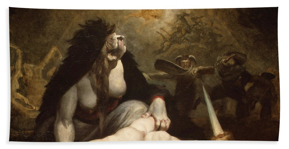 Henry Fuseli Hand Towel featuring the painting The Night-hag Visiting Lapland Witches by Henry Fuseli
