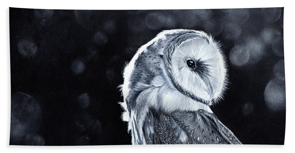 Owl Bath Towel featuring the mixed media The Night Watcher by Bonnita Moaby
