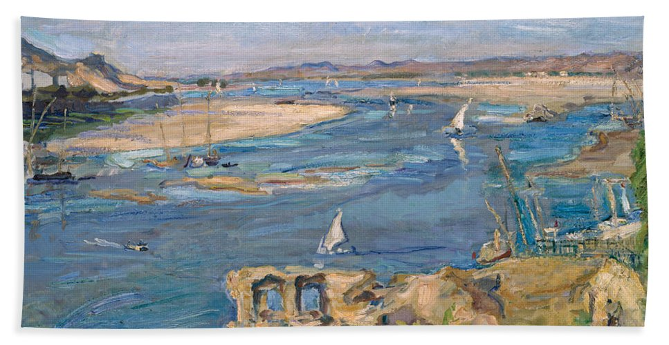 Max Slevogt Hand Towel featuring the painting The Nile Near Aswan by Max Slevogt