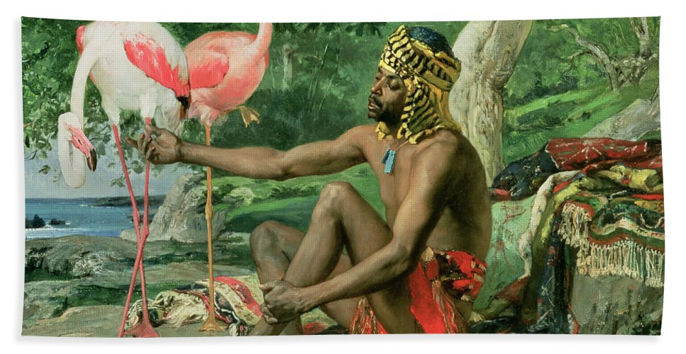 The Nubian Slave (oil On Canvas) By Georgio Marcelli (fl.1874) Hand Towel featuring the painting The Nubian by Georgio Marcelli