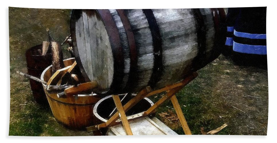Antique Bath Sheet featuring the painting The Old Beer Barrel by RC DeWinter