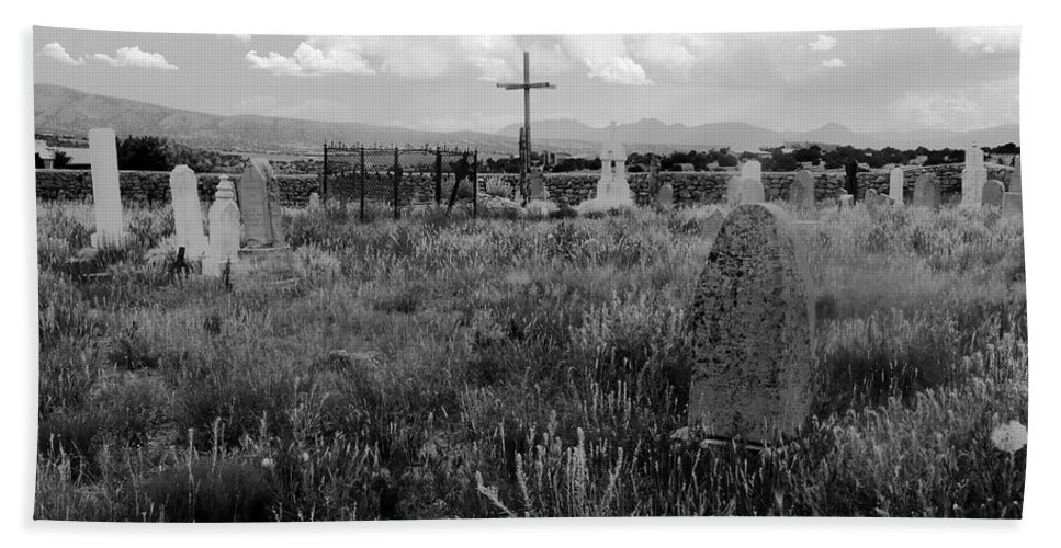 Galisteo New Mexico Bath Sheet featuring the photograph The Old Cemetery At Galisteo by David Lee Thompson