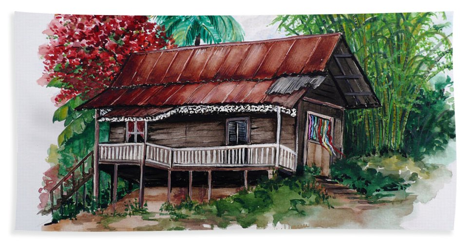 Tropical Painting Poincianna Painting Caribbean Painting Old House Painting Cocoa House Painting Trinidad And Tobago Painting  Tropical Painting Flamboyant Painting Poinciana Red Greeting Card Painting Bath Towel featuring the painting The Old Cocoa House by Karin Dawn Kelshall- Best