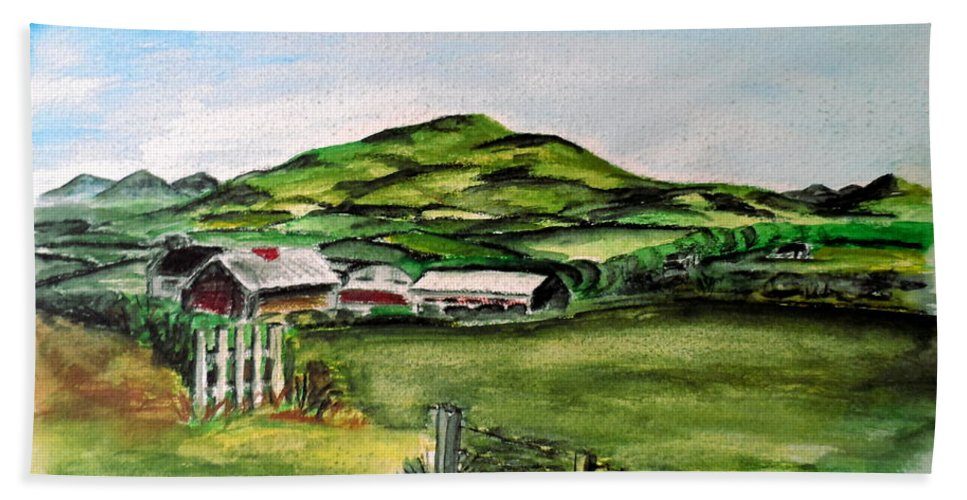 Landscape Hand Towel featuring the painting The Old Farm by Alan Hogan