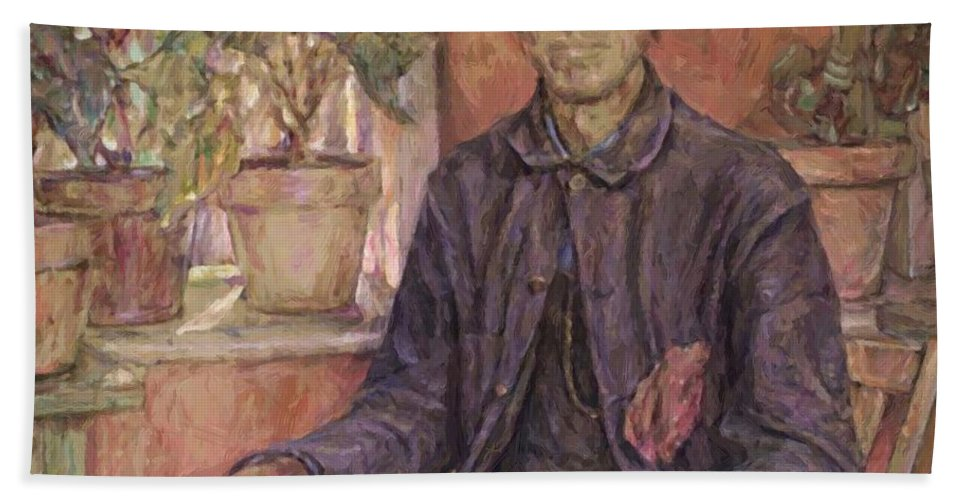 The Hand Towel featuring the painting The Old Gardener 1921 by Reid Robert Lewis