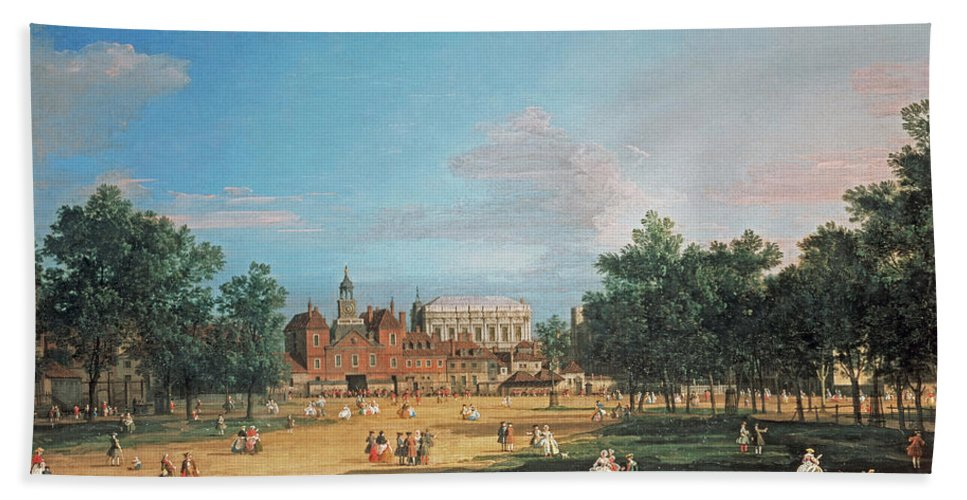 London The Old Horse Guards And The Banqueting Hall By Canaletto Bath Sheet featuring the painting The Old Horse Guards by Canaletto