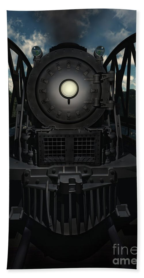 Trains Bath Towel featuring the digital art The Old Iron Bridge by Richard Rizzo