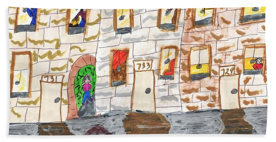 3 Row Houses With A Lot Of Activity In The Windows  Hand Towel featuring the mixed media The Old Neighborhood by Elinor Helen Rakowski