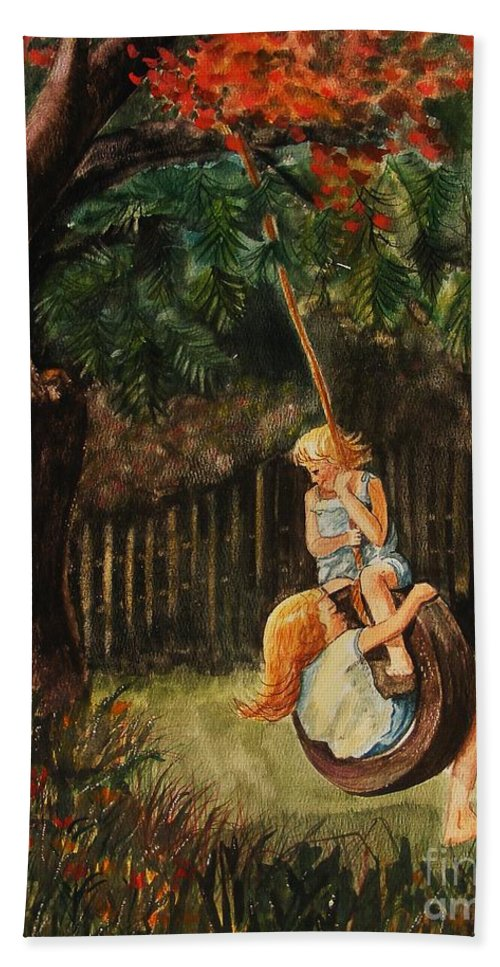 Girls Swinging Bath Sheet featuring the painting The Old Tire Swing by Marilyn Smith