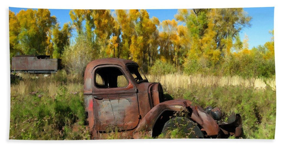Truck Bath Sheet featuring the photograph The Old Truck Chama New Mexico by Kurt Van Wagner