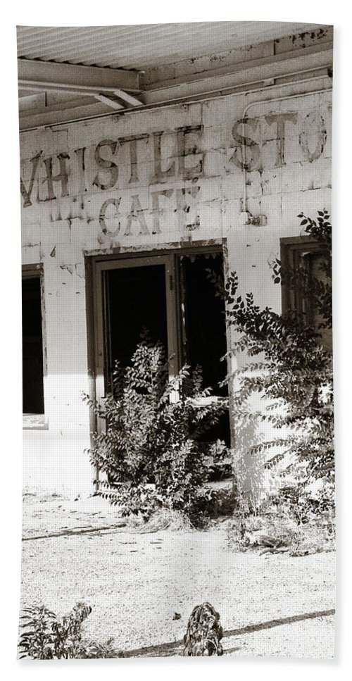 Whistle Stop Cafe Bath Sheet featuring the photograph The Old Whistle Stop Cafe by Marilyn Hunt