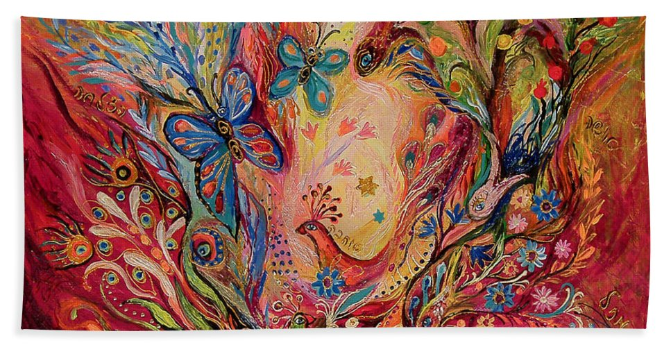 Original Bath Sheet featuring the painting The Olive Branch by Elena Kotliarker