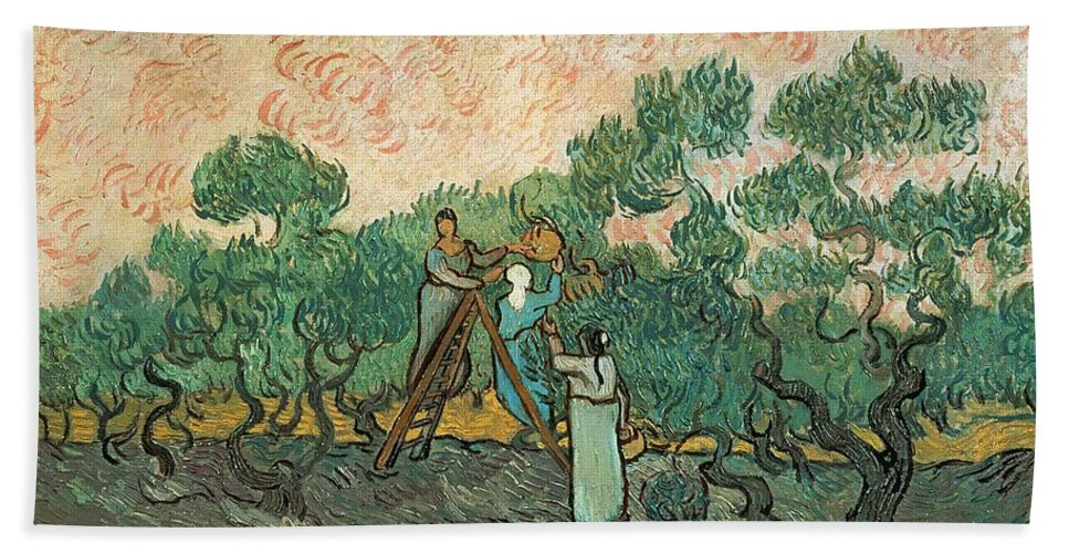 The Hand Towel featuring the painting The Olive Pickers by Vincent van Gogh