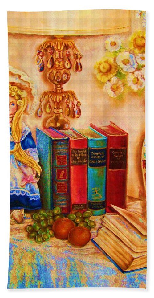 The Bible Bath Towel featuring the painting The Open Book by Carole Spandau