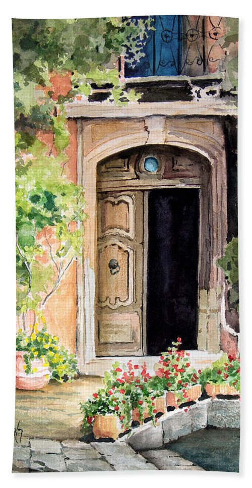 Door Hand Towel featuring the painting The Open Door by Sam Sidders