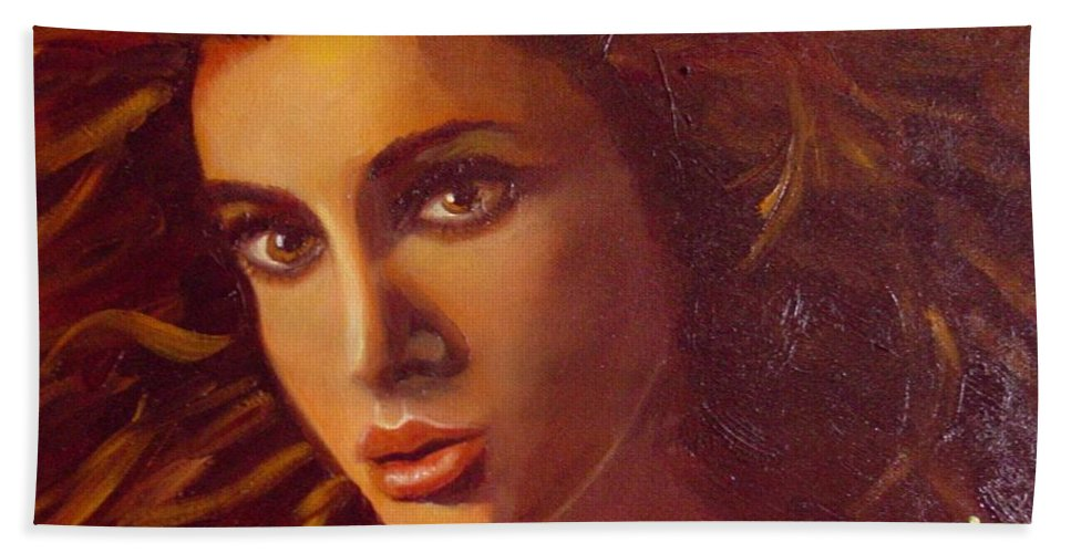 Portrait Bath Sheet featuring the painting The Oracle by Laurie Morgan