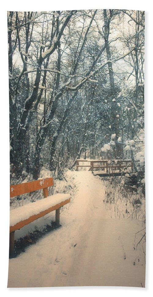 Trail Hand Towel featuring the photograph The Orange Bench by Tara Turner