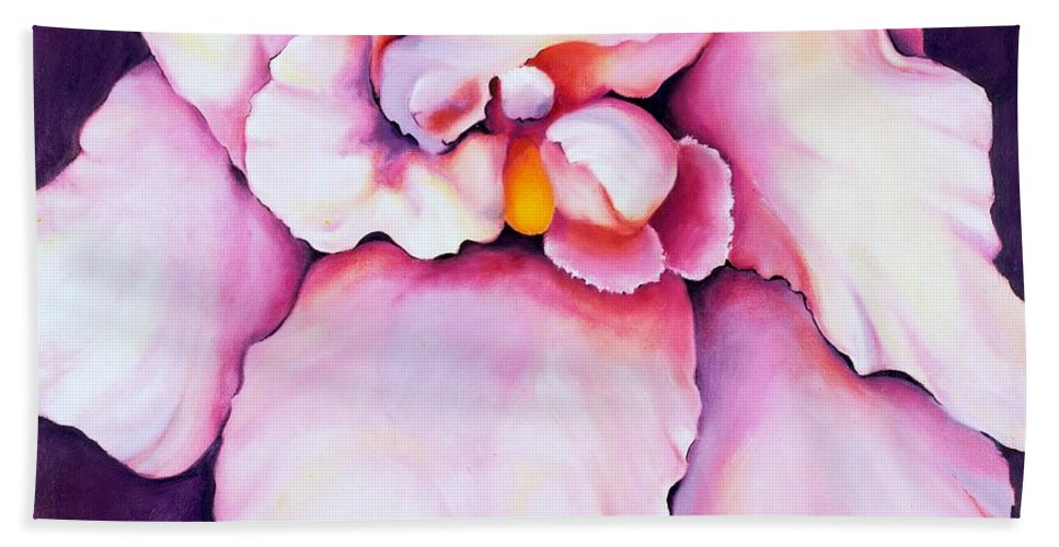 Orcdhid Bloom Artwork Hand Towel featuring the painting The Orchid by Jordana Sands