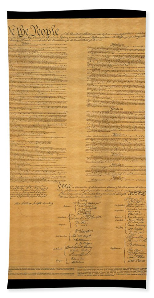 Photography Hand Towel featuring the photograph The Original United States Constitution by Panoramic Images