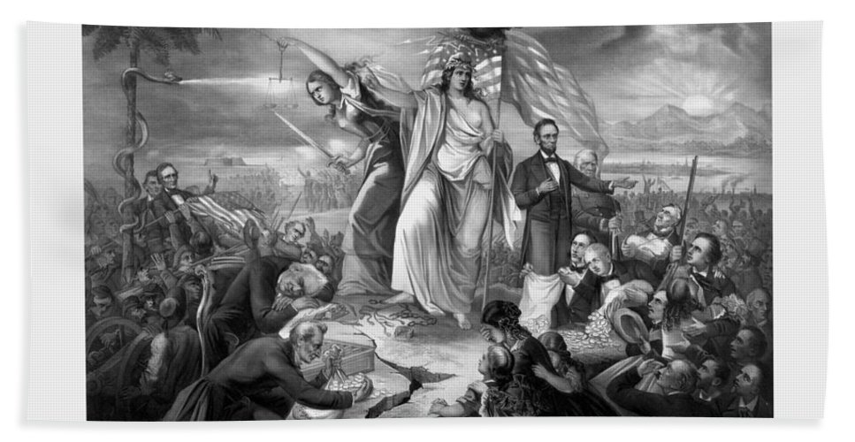 Civil War Bath Sheet featuring the drawing The Outbreak Of The Rebellion In The United States by War Is Hell Store