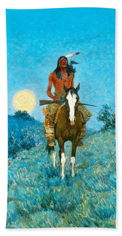 Native American Bath Sheet featuring the painting The Outlier by Frederic Sackrider Remington