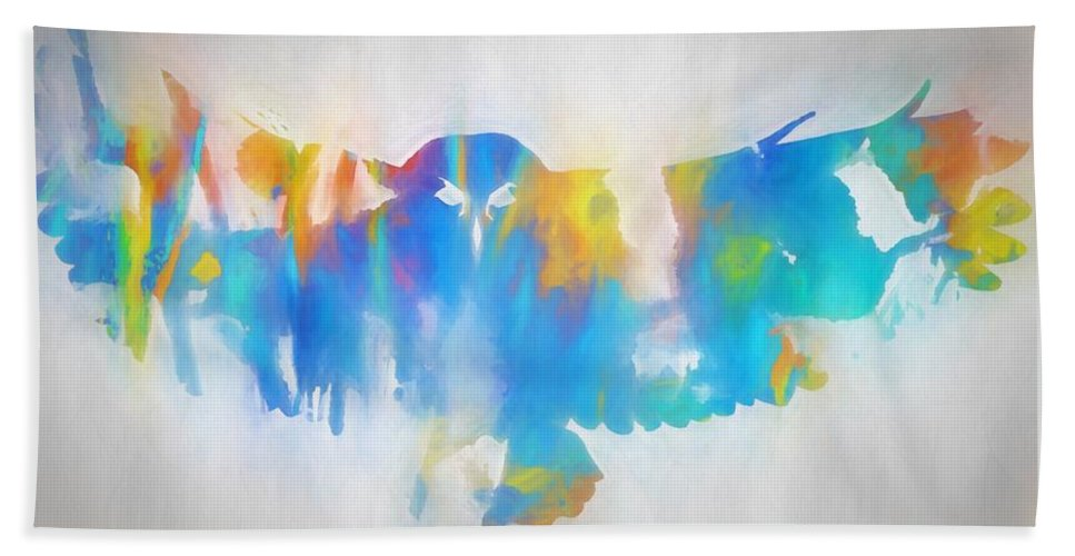 The Owl Bath Sheet featuring the painting The Owl by Dan Sproul