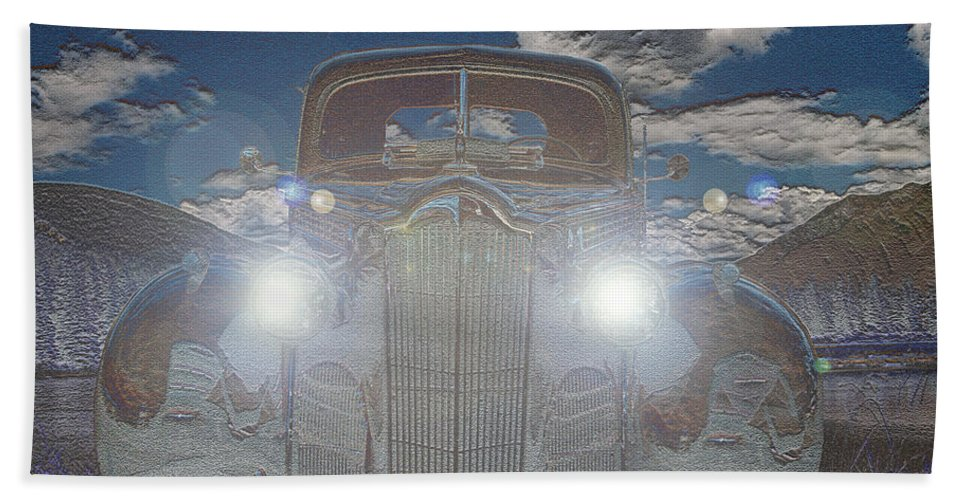 Classic Car Packard Mountains Sky Lights Scenery Life Bath Sheet featuring the photograph The Packard by Andrea Lawrence