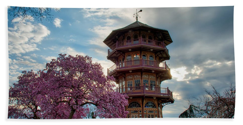 American Kiwi Photo Hand Towel featuring the photograph The Pagoda In Spring by Mark Dodd