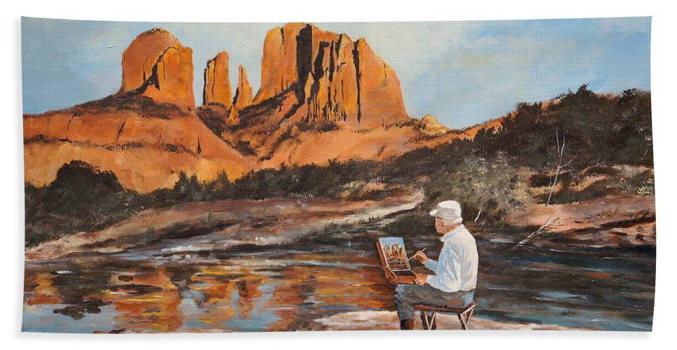 Sedona Hand Towel featuring the painting The Painter Woods by Alan Lakin