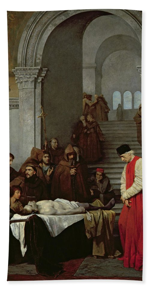 Monk Bath Sheet featuring the painting The Painter Luca Signorelli Standing By The Body Of His Rival's Dead Son by Ferdinand Heilbuth