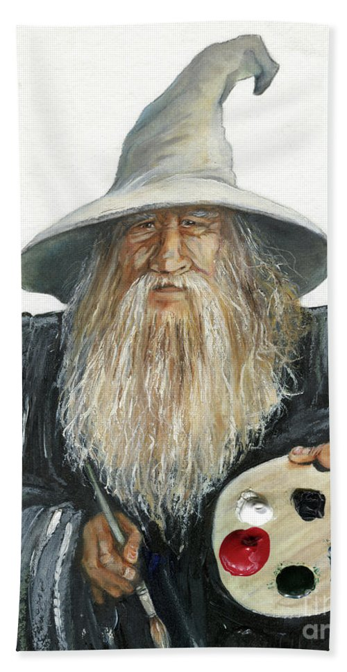 Wizard Hand Towel featuring the painting The Painting Wizard by J W Baker