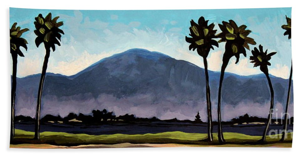 Palm Trees Bath Sheet featuring the painting The Panoramic Palm Trees by Elizabeth Robinette Tyndall