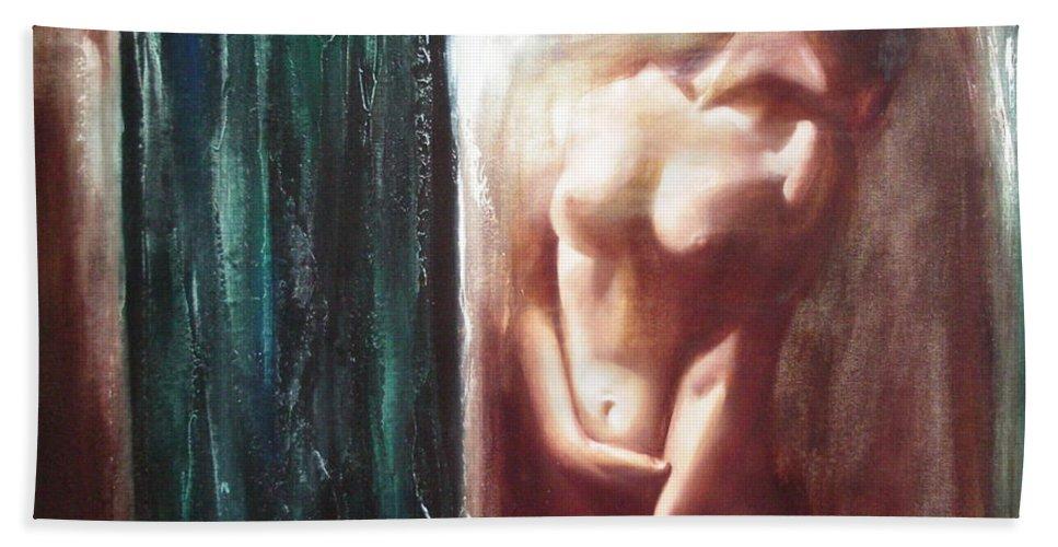 Ignatenko Bath Towel featuring the painting The Parallel World by Sergey Ignatenko