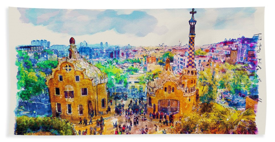 Park Guell Bath Towel featuring the painting Park Guell Barcelona by Marian Voicu