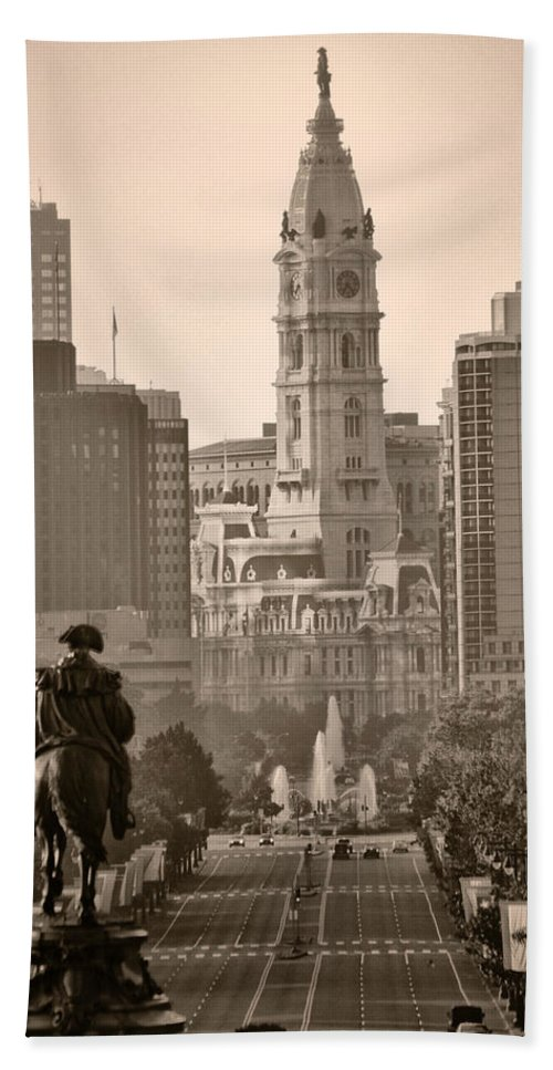 Benjamin Franklin Parkway Hand Towel featuring the photograph The Parkway In Sepia by Bill Cannon