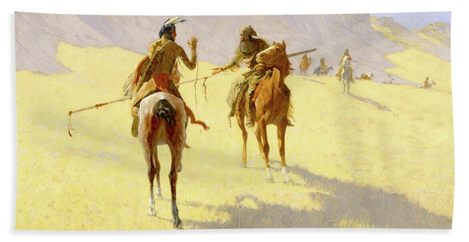 Native American Bath Sheet featuring the painting The Parley by Frederic Sackrider Remington