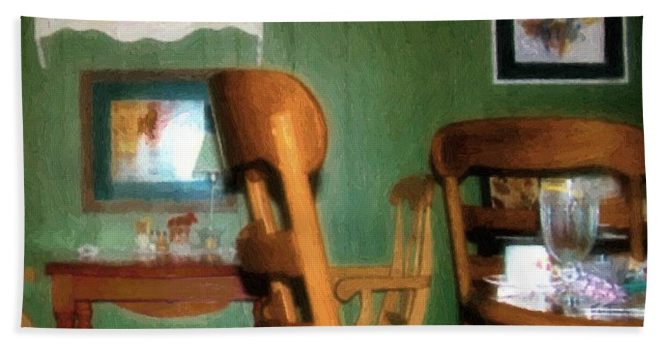 Chairs Hand Towel featuring the painting The Party's Over by RC DeWinter