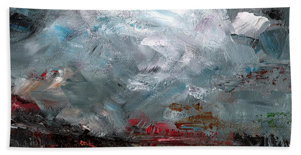 Atmosphere Bath Sheet featuring the painting The Passing Storm by Frances Marino
