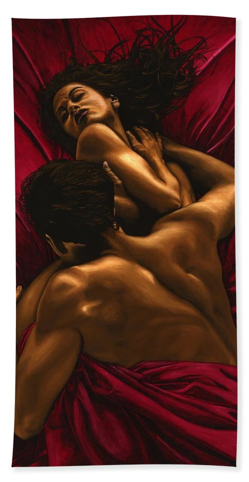 Nude Bath Towel featuring the painting The Passion by Richard Young