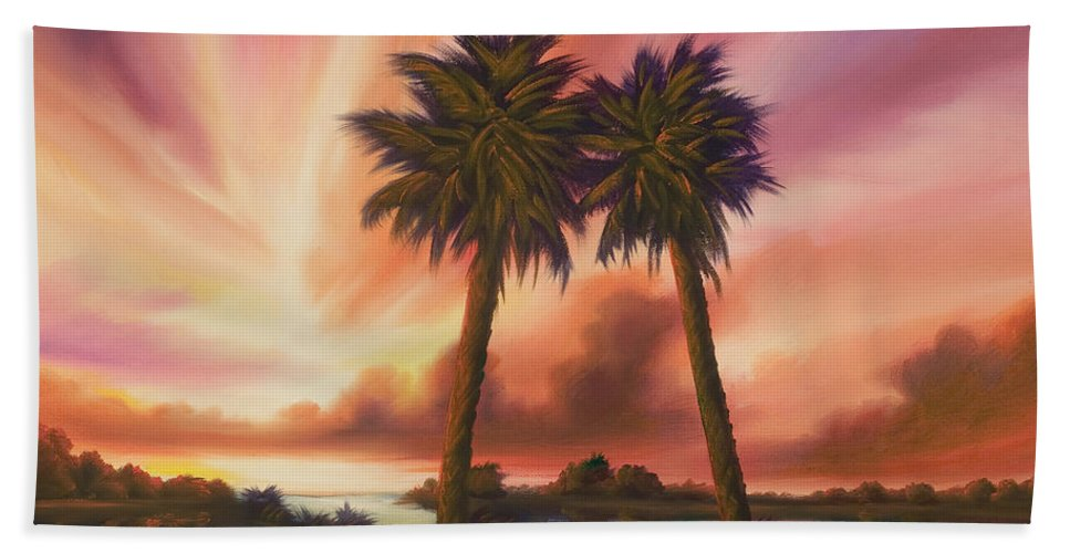 Skyscape Bath Towel featuring the painting The Path Ahead by James Christopher Hill