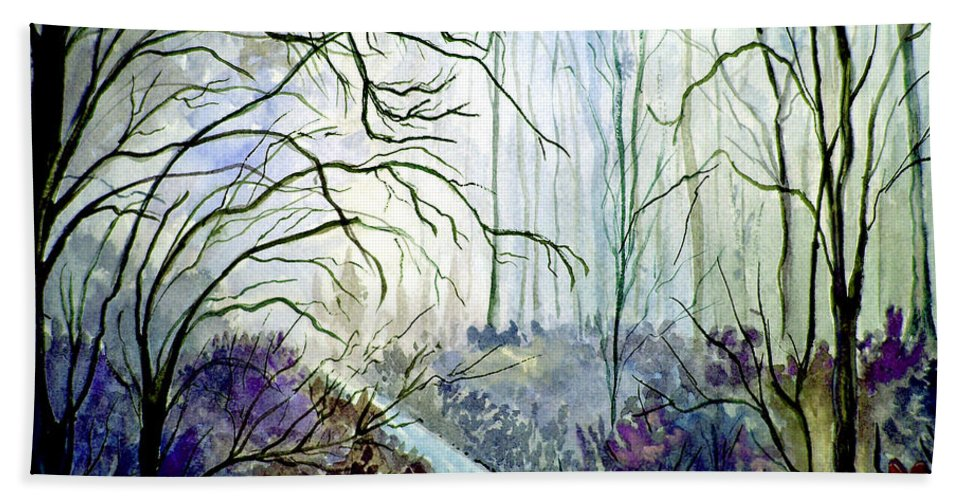 Watercolor Bath Sheet featuring the painting The Path by Brenda Owen