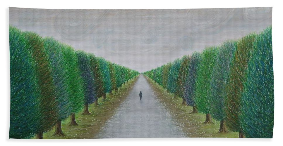 Path Bath Towel featuring the painting The Path by Lynet McDonald