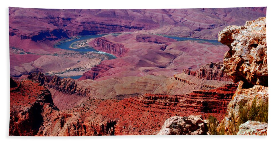 Grand Canyon Bath Sheet featuring the photograph The Path Of The Colorado River by Susanne Van Hulst