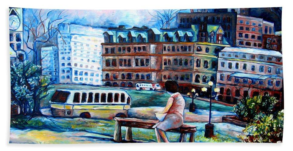 Ottawa Peace Tower City Scenes Bath Towel featuring the painting The Peace Tower In Ottawa by Carole Spandau