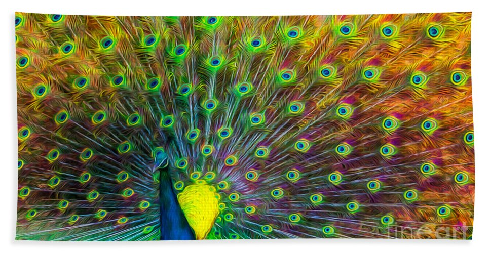Peacock Bath Sheet featuring the photograph The Peacock by Adrian Evans