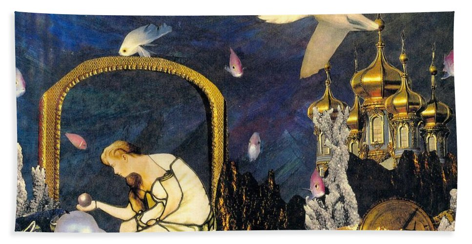 Surealism Bath Sheet featuring the mixed media The Pearl Of Great Price by Gail Kirtz