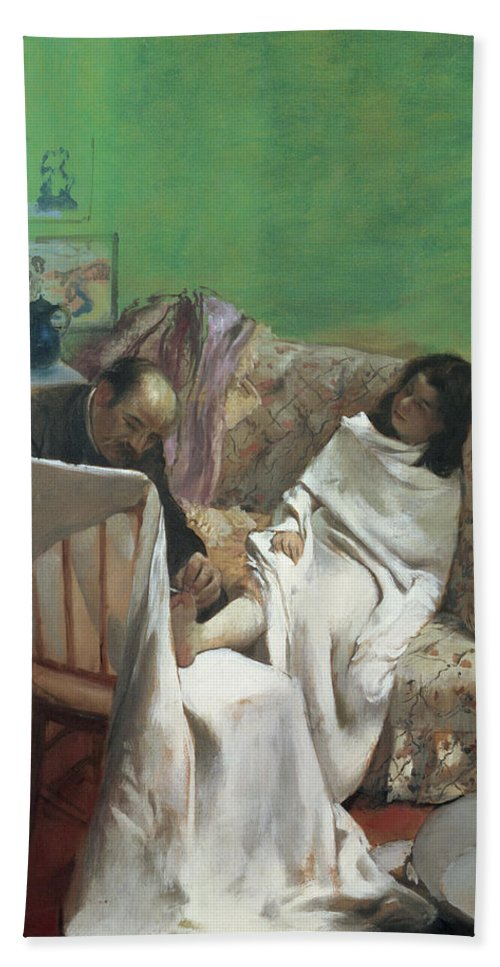 The Pedicure Bath Sheet featuring the painting The Pedicure by Edgar Degas